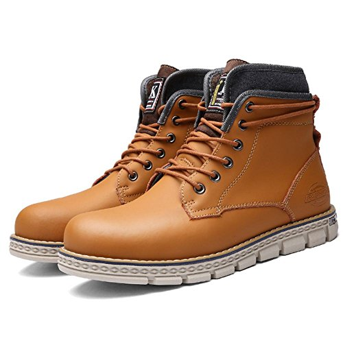 TAOFFEN Mens Warm Riding Boots Combat Ankle Bootie Shoes Orange txFBH8Yw