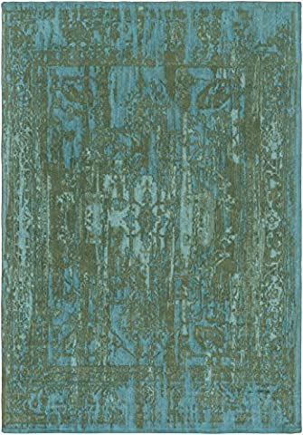 Living Room Area Rug, Green/Teal Vintage Distressed Dining Room Contemporary Traditional Cotton & Polyester Flatwoven Carpet, 8' x 10'