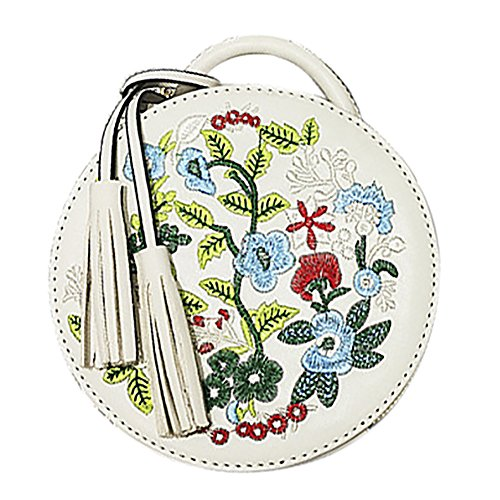 Women's Ethnic Style Embroidered Round Crossbody Shoulder Bag Top Handle Tote Handbag ()