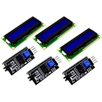 3 pcs LCD 1602 2x16 Character Matrix Transmissive Blue White Backlight and I2C Interfaces