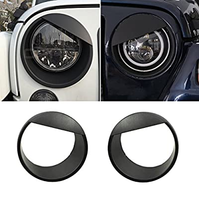 URBEST Jeep Black Front Headlight Angry Bird Cover Click-in Bezels for 2007~2018 Jeep Wrangler & Wrangler Unlimited JK - Pair