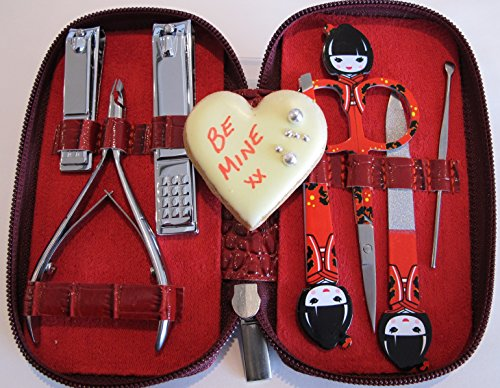 NAIL KIT Premium quality manicure set women. Nail clippers, nail file, tweezers, cuticle trimmer & personal scissors. Professional grade stainless steel precision tools BEST VALENTINES DAY GIFT EVER!