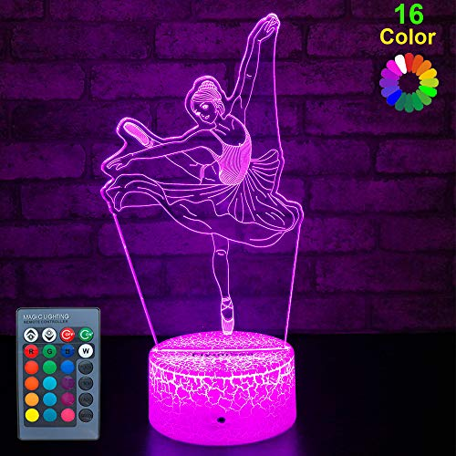 FlyonSea Kids Ballet Gifts,Ballet Girls Light Ballet Dancer 16 Color Changing Nightlight with Touch and Remote Control, Ballet Art Decor Light Birthday for Kids Girls Baby