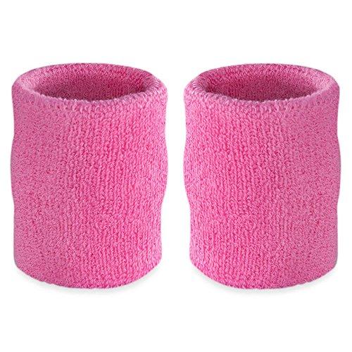 Suddora 4 Inch Arm Sweatbands - Thick Cotton Armbands for Gymnastics, Basketball, Tennis, Football (Pink)