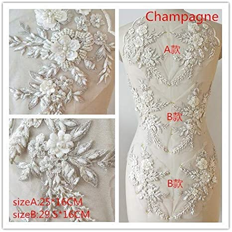 Beaded Flower Sequence lace Applique Motif Sewing Bridal Wedding A13 3D Champagne