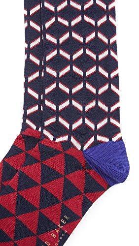 Ted Baker Men's Cold Zig Zag Socks, Navy, One Size