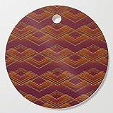 Society6 Wooden Cutting Board, Round, cinnamon southwest stripe by designlunatic