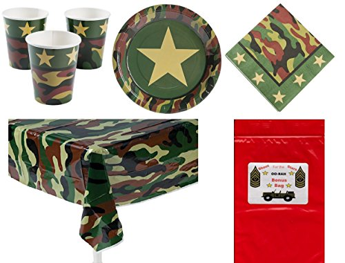Military Camouflage Soldier Decorations Tableware Boy's or Girl's Party Pack Bundle (1 Table Cover, 8 Army Dinner Plates, 16 Luncheon Napkins, 8 Drinking Cups & Bonus Bag) by Multiple]()