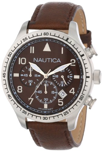 Nautica Unisex N16582G BFD 105 Chronograph Watch with Faux-Leather Band