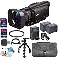 Professional Bundle - Sony FDR AX100 Ultra HD 4K Camcorder: Includes 2 Spare Batteries, Rapid Charger, UV Filter and more...