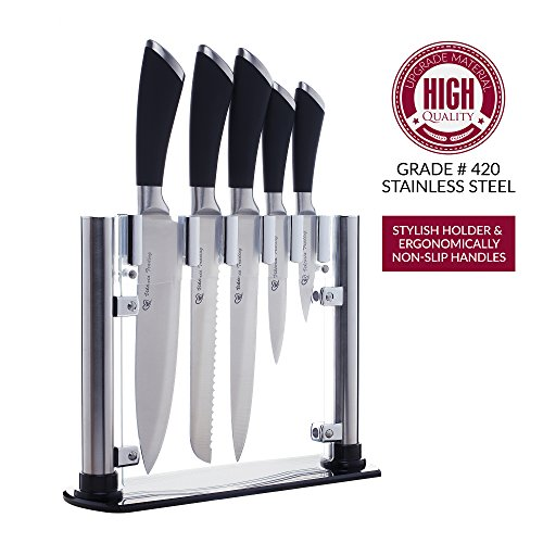 Kitchen Knife Set with Knife Block - Ultra Sharp Chef Knife Set - Premium Quality Cooking Knives with Ergonomic Rubber Handles - Stainless Steel 6 Piece Cutlery Knife Set with Stylized Acrylic Stand