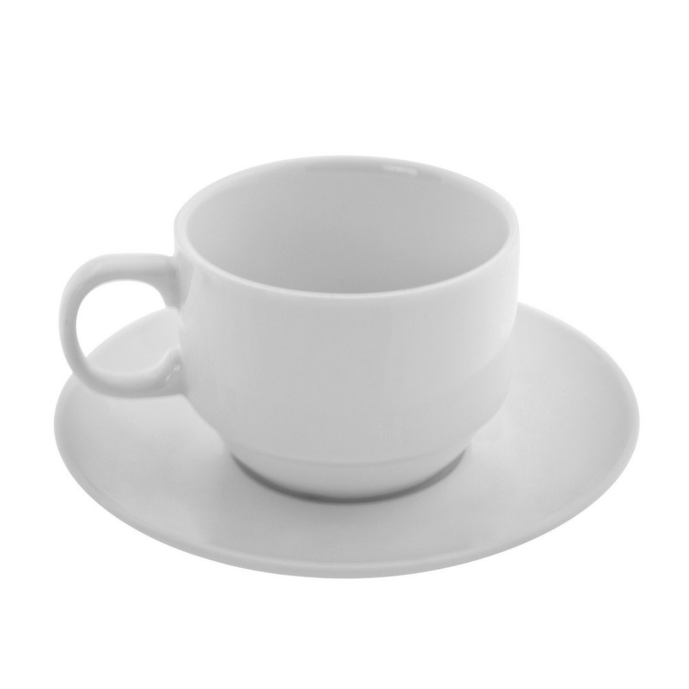 10 Strawberry Street Bistro 6 Oz Tea Cup and Saucer, Set of 6, White