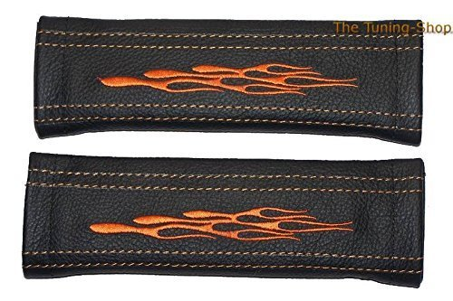 The Tuning-Shop Ltd 2X Seat Belt Covers Pads Shoulder Black Leather Orange Flames Embroidery 22Cm X 6Cm - Flame Embroidery