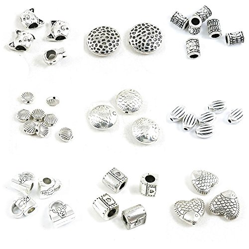 40 Pieces Antique Silver Tone Jewelry Making Charms Fish Loose Beads Treasure Box Chest Handbag Purse Stripe Oval Shell Conch Column Pipe Tube Hollow Cat