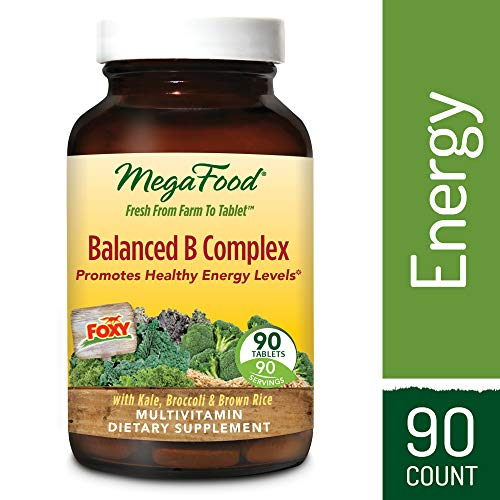 MegaFood - Balanced B Complex, Promotes Energy Production, Alertness, Cognition, Focus, and a Healthy Nervous System with B Vitamins, Folate, and Biotin, Vegan, Gluten-Free, Non-GMO, 90 Tablets