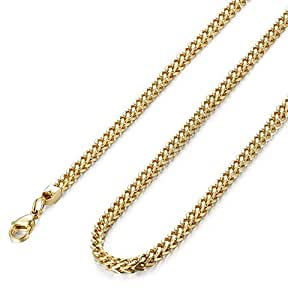 """FIBO STEEL 3mm Curb Chain Necklace for Men Stainless Steel Biker, 18"""""""