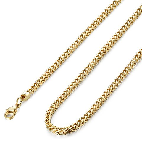 (FIBO STEEL 3mm Curb Chain Necklace for Men Stainless Steel Biker, 20