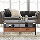 Large Wooden Coffee Table with Drawers Aingoo Large Coffee Table Wooden 48in Rectangular 2 Drawers Storage Cube MDF for Living Room Sofa Table Contemporary Black Brown (Black)