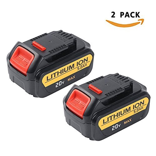 Enegitech 2 Pack 20V 5.0Ah Lithium Battery for Dewalt Max XR DCB204 DCB205 DCB205-2 DCB200 DCB180 DCD985B DCD771C2 DCS355D1 DCD790B High Capacity Cordless Power Tools by Enegitech