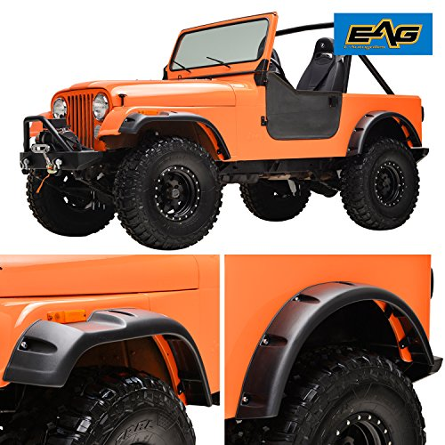 EAG Matte Black Pocket Rivet Fender Wide Body Fit for 59-86 Jeep Wrangler CJ5 CJ6 CJ7