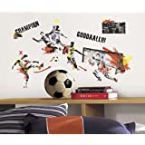 Lunarland MENS SOCCER CHAMPION 53 Wall Decals Boys Player Room Decor Stickers Ball Sports