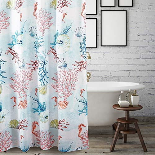 Ocean Life Seahorse Shower Curtain, Red Seafoam Blue Coral Shells Sea Horse Bathtub Curtain Marine Life Coastal Theme, Nautical Conch Seashells Shower Drape Beach Cottage Decor 72