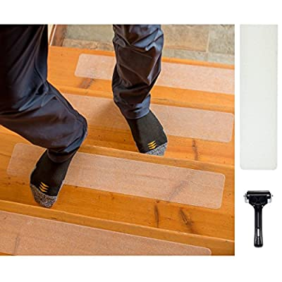 Steady Treads - Set of PVC-Free, Non-Slip Adhesive Stair Treads and Handy Installation Roller - Improve Safety and Slip Prevention on Stairs, Ramps, and Other Surfaces