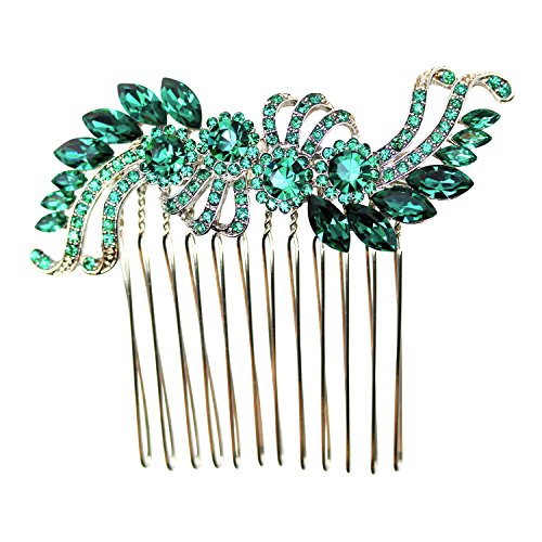 Faship Green Crystal Hair Comb