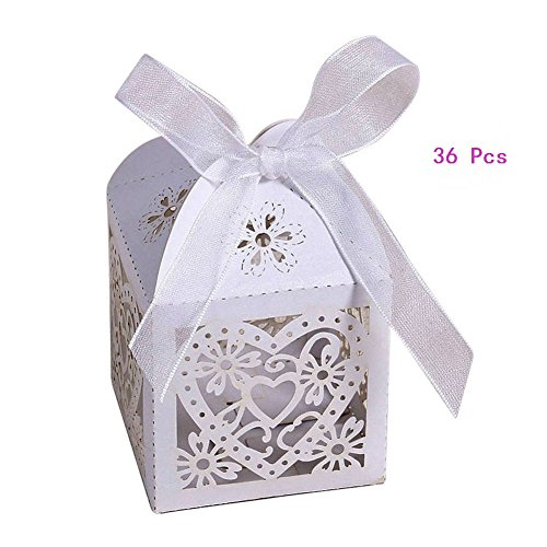 AKOAK Pack of 36 Hollow Out Love Heart Laser Cut Wedding Party Favor Candy Box with Ribbons,White