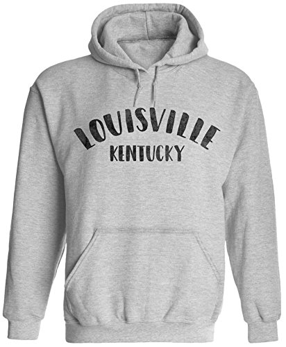 Unisex Mens City of Louisville Kentucky Pullover Hooded Sweatshirt (Ash Grey, 2XL)