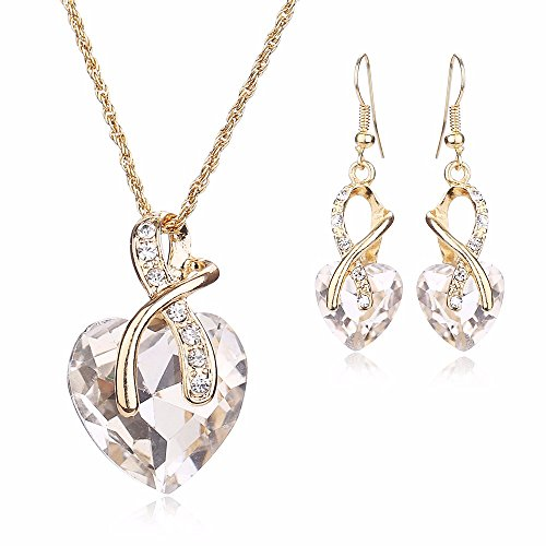 Dance Costumes Clearance (Women Fashion Heart Shape Gold Plated Jewelry Set Necklace Earring of Gemstone Crystal for Costume Show Wedding Party Dance Ceremony Accessories)