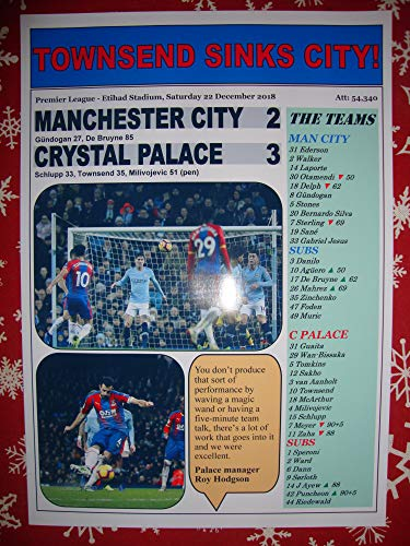 Sports Prints UK Manchester City 2 Crystal Palace 3-2018 Premier League - Souvenir Print