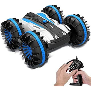 B&F RC Car Boat Waterproof Remote Control 4WD 6CH 2.4G All Terrain RC Vehicle 1/16 Scale Double Sides Stunt Vehicle with 360 Degree Spins for Christmas Birthday Gifts
