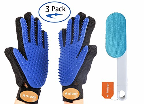 Anicer Pet Grooming Hair Removal Gloves with Adjustable Wrist Strap, Double Sided Fur Lint Brush Included – 3 Pack
