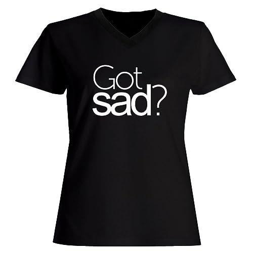 Idakoos Got sad? - Aggettivi - Maglia a V-collo Donna