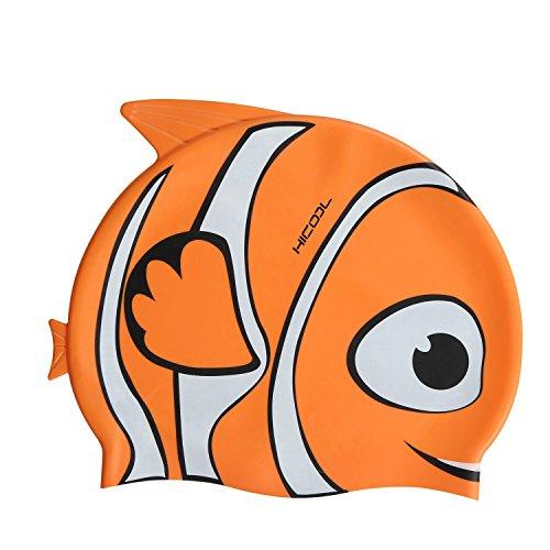 Swim Cap, Hicool High-Quality Fisher Series Waterproof Earmuffs Silicone Swim Cap For Kids (Orange)