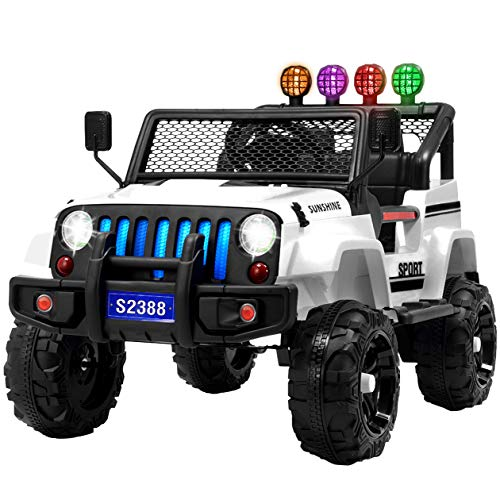 Uenjoy Electric Kids Ride On Cars 12V Battery Power Vehicles W/ Wheels Suspension, Remote Control, Music, Story Playing, Colorful Lights, Sunshine Model, White (Power Wheels Ford F150)