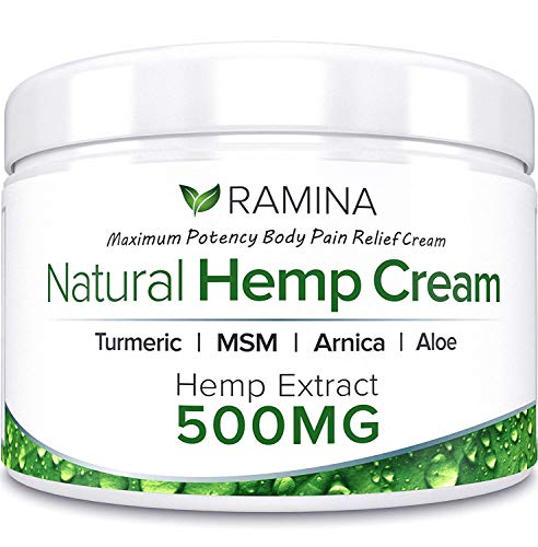 Ramina Natural Hemp Extract Pain Relief Cream - 500 Mg - Hemp Salve Contains Turmeric, MSM & Arnica - Relieves Inflammation, Muscle, Joint, Back, Knee, Nerves & Arthritis Pain - -
