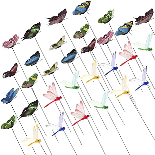 32 Pcs Dragonfly Butterfly Stakes Dragonflies Butterflies On Sticks 3D Artificial Dragonfly Patio Garden Decor Yard Planter Whimsical Dragonfly Ornament Plant Stems for Flower Pot Party Supplies Craft by CoscosX