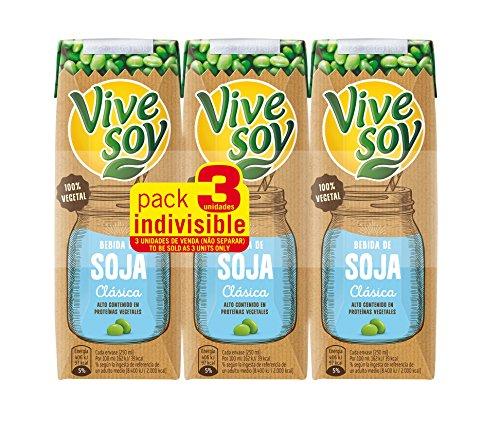 Vivesoy - Bebida de Soja Natural - Paquete de 3 x 250 ml - Total: 750 ml: Amazon.es: Alimentación y bebidas