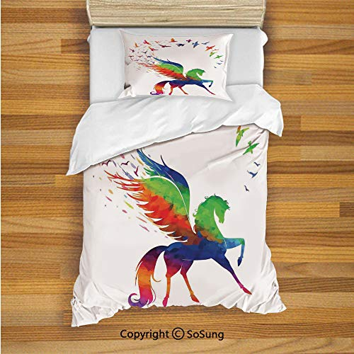 Flying Birds Decor Kids Duvet Cover Set Twin Size, Pegasus Flying Wings of Birds in Rainbow Colors Inspiration Imagination Design Art Home 2 Piece Bedding Set with 1 Pillow Sham,Multi