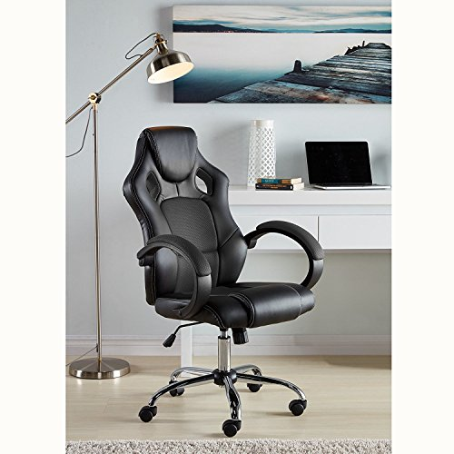 IDS Online MLM-17970 Executive Racing Office Chair High-Back Mesh Bucket Seat Sit-to-Move Wheel Casters, Black IDS