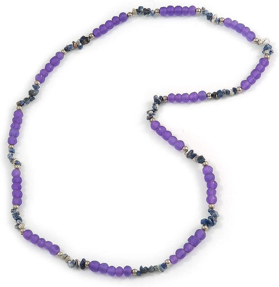 Avalaya - Collar largo con cuentas de resina moradas (86 cm)