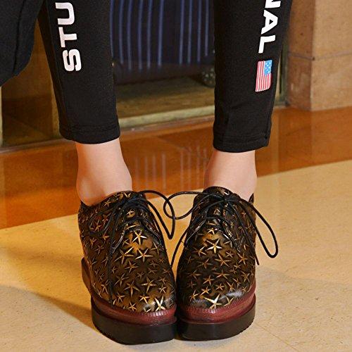 MissSaSa Donna Scarpe col Tacco Flatplatform Harajuku Stile (34, oro)