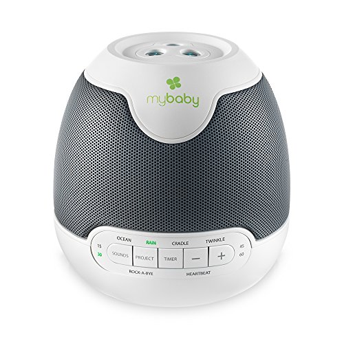 MyBaby, SoundSpa Lullaby - Sounds & Projection, Plays 6 Sounds & Lullabies, Image Projector Featuring Diverse Scenes, Auto-Off Timer Perfect for Naptime, Powered by an AC Adapter (Star Projector And Sound Machine)