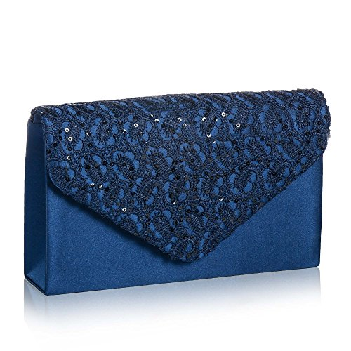Womens Elegant Floral Lace Envelope Clutch,Wallyns Evening Bag Handbag Navy