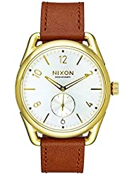 Nixon C39 Leather Gold / Saddle / White Unisex Watch A4592227-00 Stainless Steel Analog