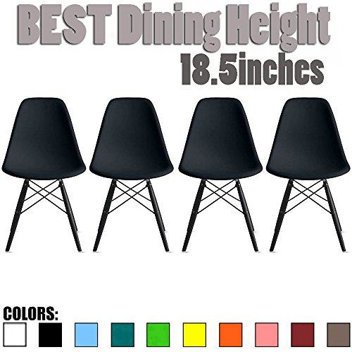 2xhome Set of 4 Mid Century Modern Industrial Black Side Armless No Arms Dark Wood Legs Eiffel for Dining Room Chairs Molded Shell Plastic Dowel Metal Desk Office