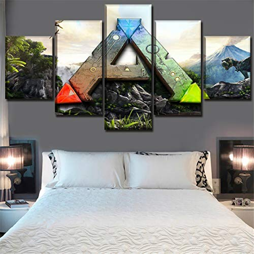 Ark Canvas - NATVVA 5 Panel Wall Art Posters Game Ark Survival Evolved Logo Painting Pictures Print On Canvas for Home Modern Decoration Living Room Stretched by Wooden Frame Ready to Hang