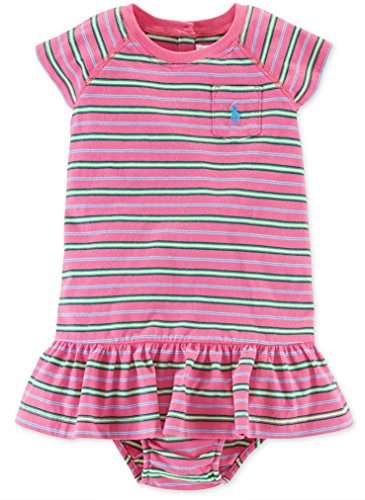 - Ralph Lauren Baby Girls Striped 2pc Dress Set (3 Months, Pink Multi)